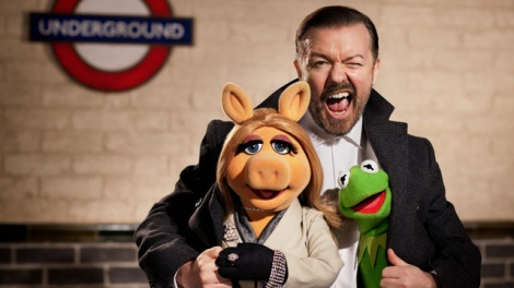 Ricky Gervais, Miss Piggy and Kermit the Frog