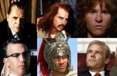 Stone is no stranger to the historical biopic: (clockwise from top left) Anthony Hopkins as Nixon, Tom Cruise as Ron Kovic, Val Kilmer as Jim Morrison, Josh Brolin as George W. Bush, Colin Farrell as Alexander the Great, Kevin Costner as Jim Garrison.