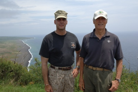 James Dever and Clint Eastwood on top of Mount Suribachi, Iwo Jima 2006